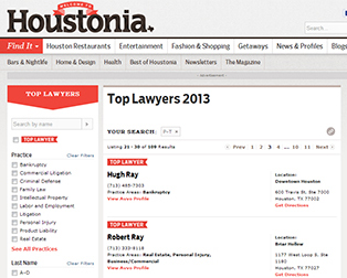 Dr. Ray on Hustonia Top Lawyers 2013